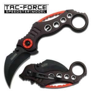 Tac-Force Karambit 2.5 in Blade Black-Orange Aluminum Handle